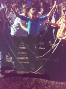 Little Arri on the low ropes  course at Camp Carlisle (2001)