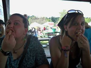 Vicky (colleague) and Arrianne experiencing Ohio culture at the Fairborn Sweet Corn Festival. Yum Corn Fritters!