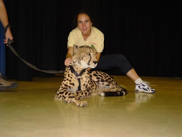 Vazquez with a cheetah