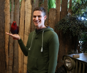 Kenny with eclectus parrot